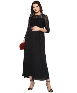 Momsoon Full Sleeves Lace Maxi Dress - Black
