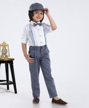 Dapper Dudes Dot Printed Full Sleeves Shirt With Bow Tie & Striped Suspender Pants With Cap - White