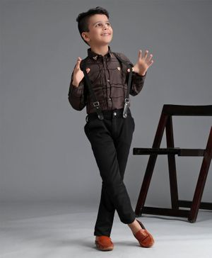 Dapper Dudes Roll Up Full Sleeves Checkered Shirt With Suspender Pants - Brown