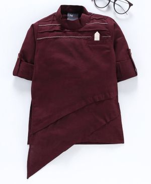 Dapper Dudes Solid Roll Up Full Sleeves Kutra - Maroon