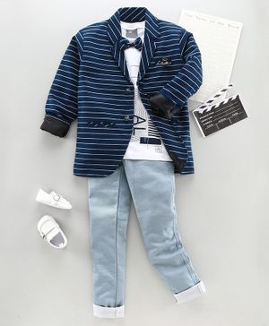 Dapper Dudes Striped Full Sleeves Coat With Bow Tie Attached Tee & Pants - Blue
