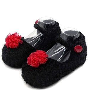 Magic Needles Flower Decorated Booties - Black