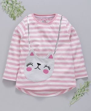 Ventra Cat Patch Detailed Full Sleeves Top - Light Pink