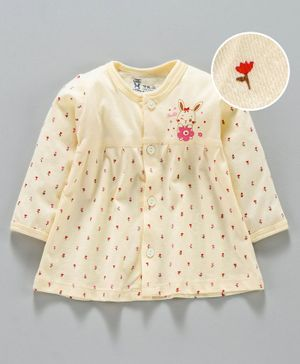 Pink Rabbit Full Sleeves Night Gown Rose Print - Light Yellow