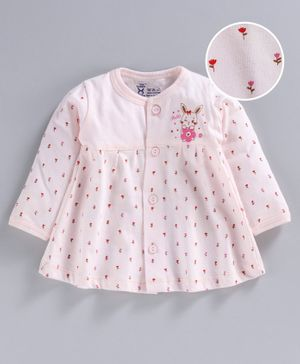 Pink Rabbit Full Sleeves Night Gown Rose Print - Light Peach