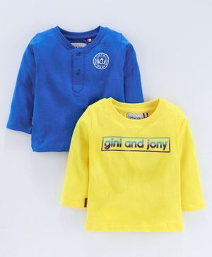 Gini & Jony Full Sleeves T-Shirt Pack of 2 - Blue Yellow