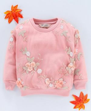 Gini & Jony Full Sleeves Top Floral Embellished - Pink