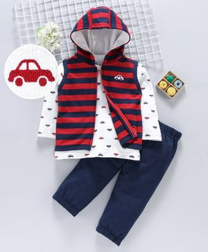 ToffyHouse Winter Wear Full Sleeves Suit Car Embroidery - Red White Navy Blue