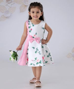 Mark & Mia Sleeveless Frock Floral Print - Pink White