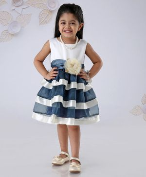 Mark & Mia Sleeveless Striped Frock Flower Corsage - Navy Blue
