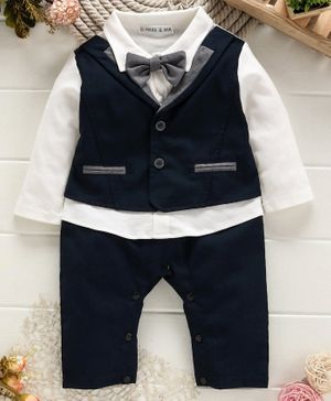 Mark & Mia Full Sleeves Romper With Bow - Navy Blue