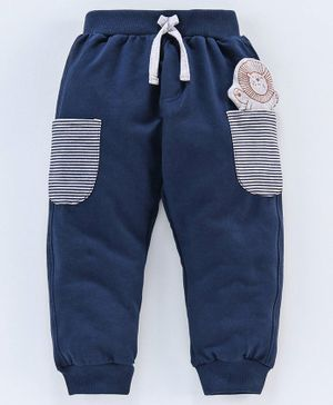 Mini Taurus Full Length Lounge Pant With Lion Pocket Patch - Navy Blue