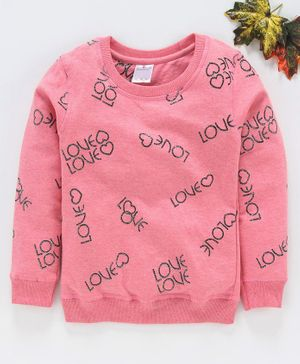 Smarty Full sleeves Winter Wear Tee Shimmery Text Design - Pink