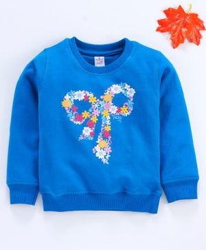 Smarty Full sleeves Winter Wear Tee Floral Print - Blue