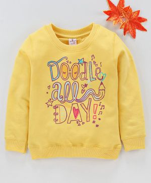 Smarty Full sleeves Winter Wear Tee Text Print - Yellow