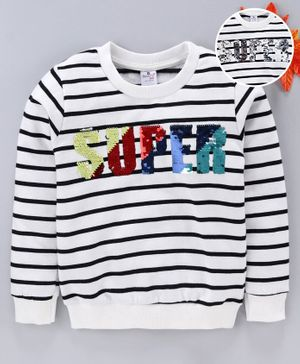 Smarty Winter Wear Full sleeves Tee Text Embellished - White