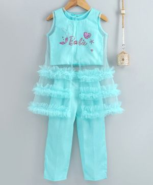 Barbie By Many Frocks & Sleeveless Barbie Print Top With Pants & Long Transparent Jacket - Blue