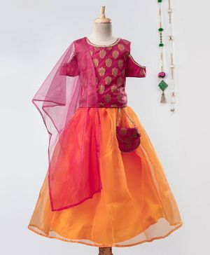 Barbie By Many Frocks & Half Sleeves Motif Print Cold Shoulder Choli With Lehenga - Pink & Yellow