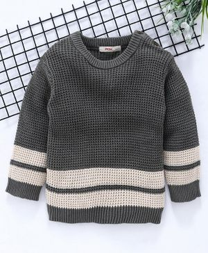 Fox Baby Full Sleeves Solid Color Sweater - Light Grey