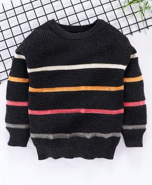 Fox Baby Full Sleeves Stripe Sweater - Black
