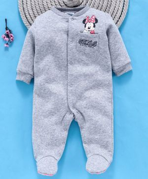 Fox Baby Full Sleeves Footed Romper Minnie Mouse - Grey