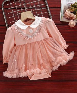 Mark & Mia Full Sleeves Frock Style Onesie Sequin Embellished - Peach