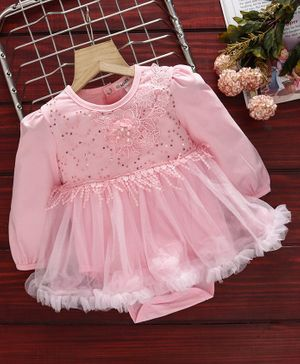 Mark & Mia Full Sleeves Frock Style Onesies Sequin Work - Light Pink