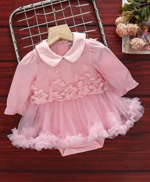 Mark & Mia Full Sleeves Frock Style Onesies Floral Embroidered - Pink