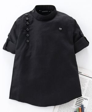 Jash Kids Full Sleeves Solid Color Kurta - Black