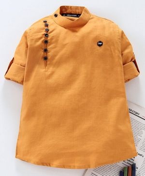 Jash Kids Full Sleeves Solid Color Kurta - Mustard Yellow