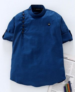Jash Kids Full Sleeves Solid Color Kurta - Blue