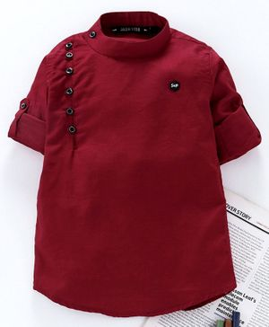 Jash Kids Full Sleeves Solid Color Kurta - Maroon