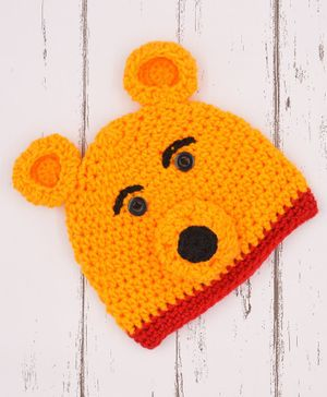 Love Crochet Art Crochet Bear Pattern Crochet Beanie - Yellow