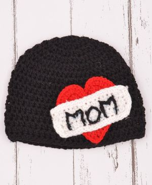 Loce Crochet Art Crochet Mom Heart Love Cap - Black