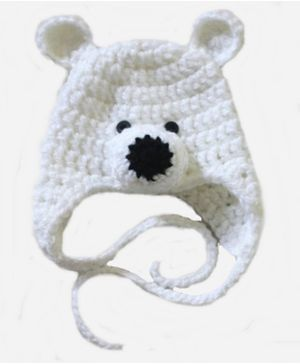 Love Crochet Art Polar Bear Crochet Cap Beanie - White