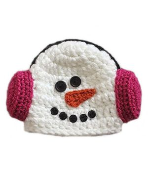 Love Crochet Art Snowman Theme Crochet Cap - White & Pink