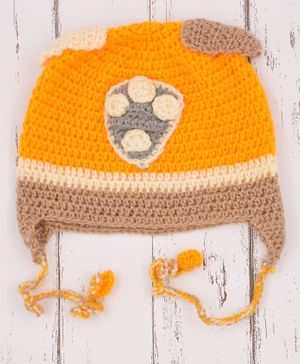 Love Crochet Art Dots Pattern Crochet Cap - Yellow