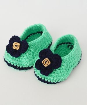 Love Crochet Art Flower Detailed Booties - Green