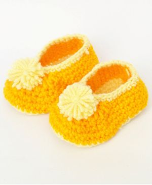 Love Crochet Art Flower Applique Crochet Booties - Yellow
