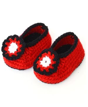 Love Crochet Art Flower Detailed Crochet Booties - Red