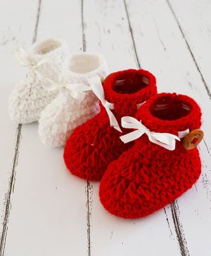 Love Crochet Art Ribbon Detailed Combo Of 2 Booties - Red & White