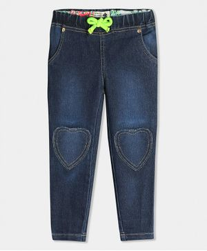 Cherry Crumble California Heart Patch Detailed Full Length Jeans - Dark Blue