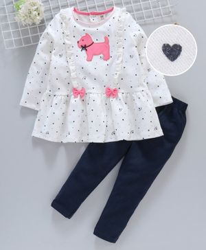 ToffyHouse Winter Wear Full Sleeves Frock With Leggings Puppy Patch - White Blue