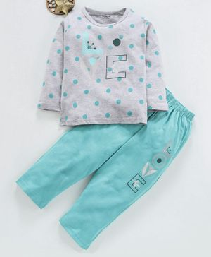 Doreme Full Sleeves Tee & Leggings Dots Print - Grey Sea Green