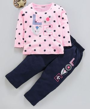Doreme Full Sleeves Tee & Leggings Dots Print - Pink Navy Blue