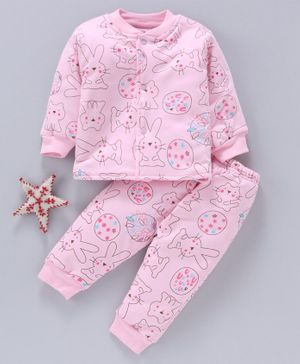 Doreme Full Sleeves Night Suit Bunny Print - Light Pink