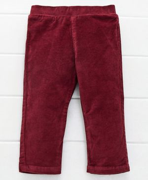UCB Full Length Solid Party Wear Trouser - Maroon