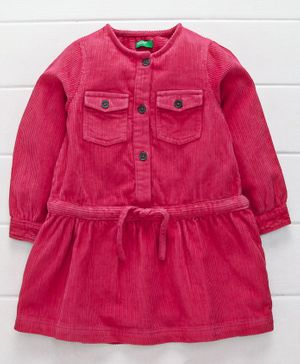 UCB Full Sleeves Winter Wear Solid Color Shirt Style Top - Red