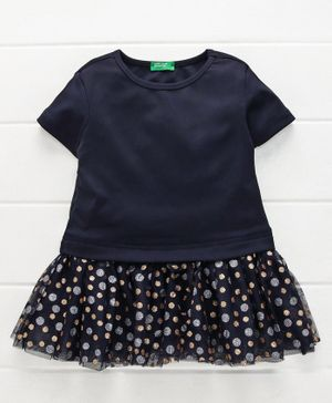 UCB Short Sleeves Winter Wear Frock Glitter Dots Print - Navy Blue