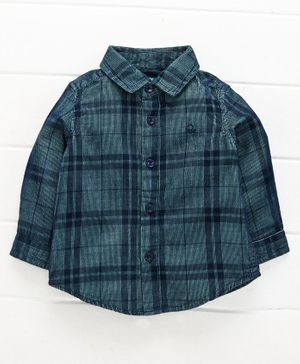UCB Full Sleeves Shirt Checked - Olive Green